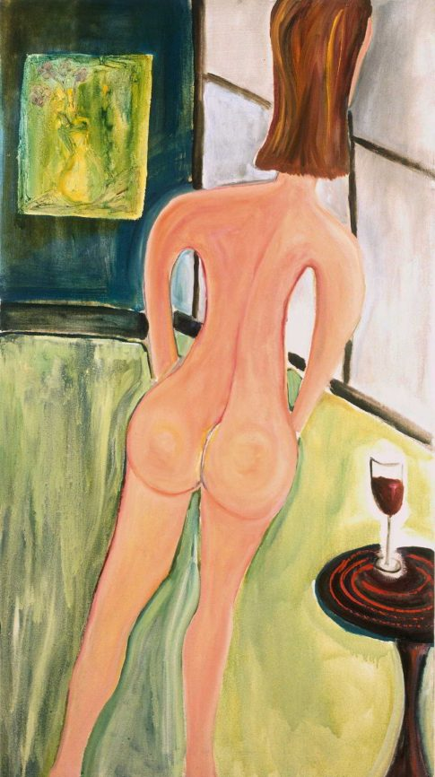 A Gray Day A Glass of Wine 2004. 54x30 . oil on canvas