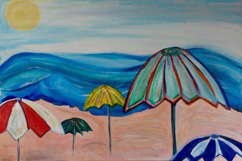Beach Umbrellas. Acrylic. 36x24 . 2018