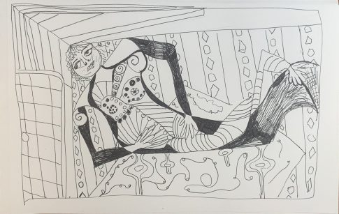 In the harem. Pen and ink. 8x6222021 1