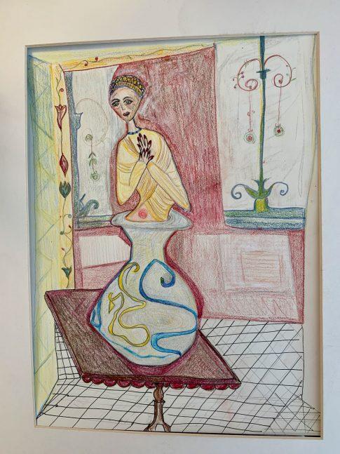 Woman in a Vase. Color pencil. 9x1222. 2021