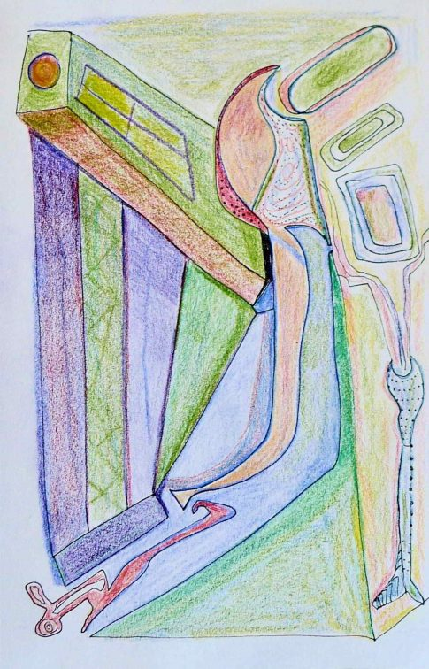 girl stuck between a rock and a hard place. 2021. 8x5 color pencil drawing