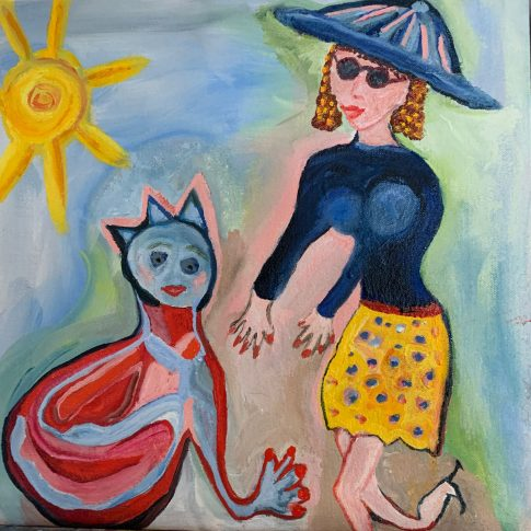 the woman in the blue hat