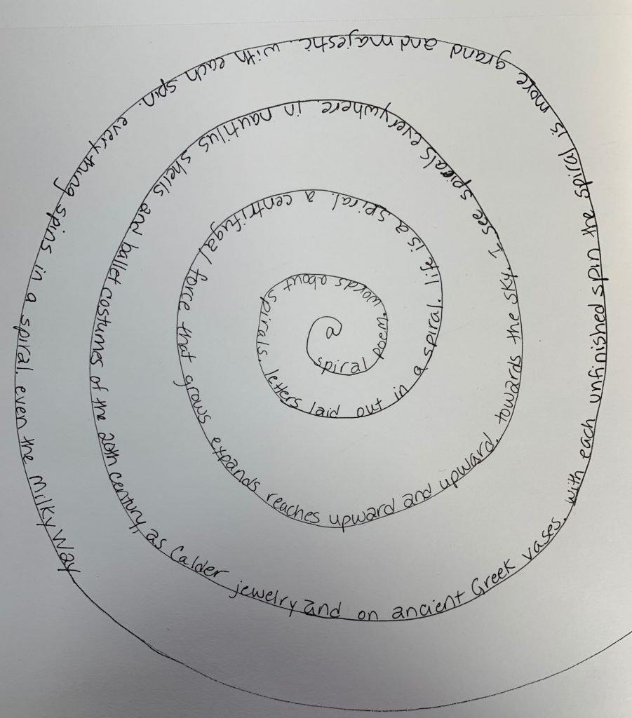 a spiral poem in a spiral