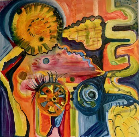 the sun blows hot air. Oil on canvas. 40x4022. 2021